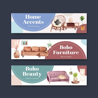 水彩イラストを宣伝およびマーケティングするための自由奔放に生きる家具のコンセプトデザインのバナーテンプレート