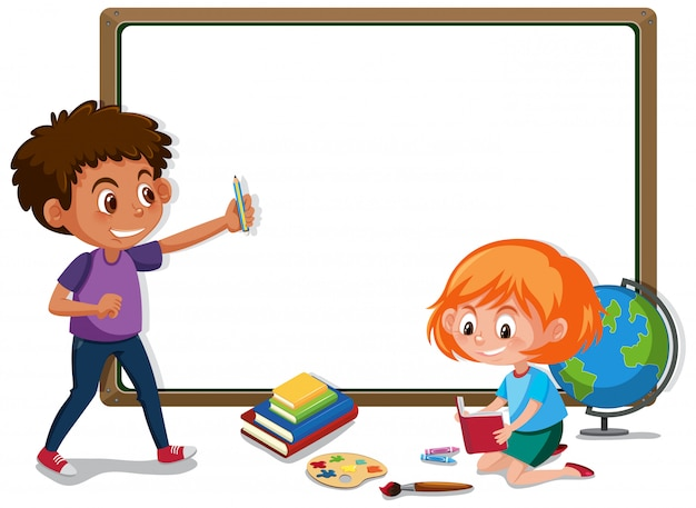 Banner template with boy and girl in the classroom