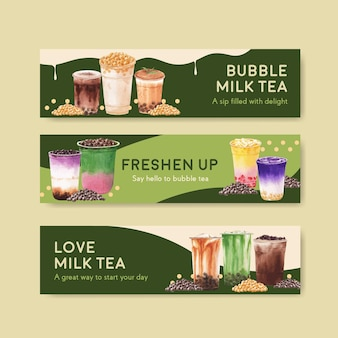 Banner template with bubble milk tea