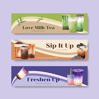Шаблон баннера с пузырьковым чаем с молоком
