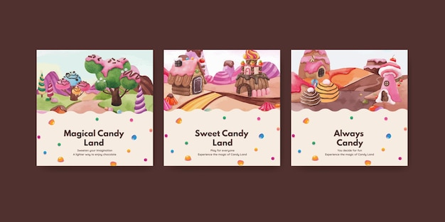 Banner template with candy land concept design watercolor illustration