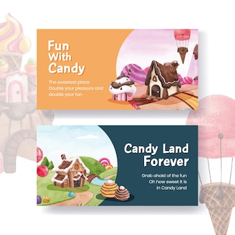 Banner template with candy land concept