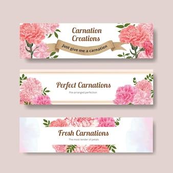 카네이션 꽃 개념, 수채화 스타일 배너 서식 파일