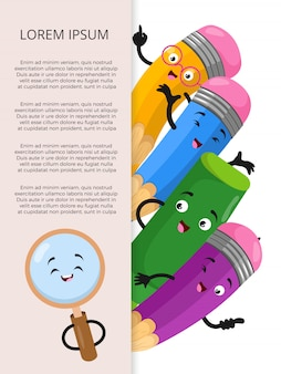Banner template with cartoon stationery elements