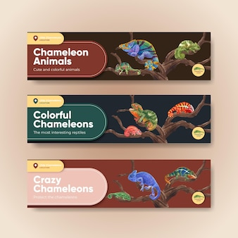 Banner template with chameleon lizard in watercolor style