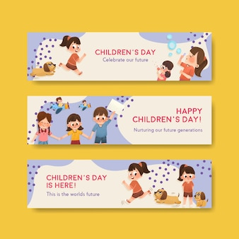 Banner template with children's day concept design