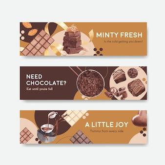 Modello di banner con inverno al cioccolato
