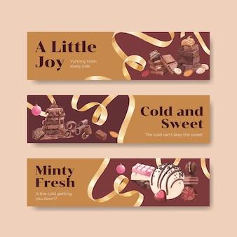 チョコレートの冬のバナーテンプレート