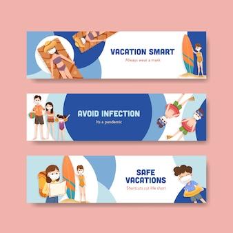 Modello di banner con concept design di prevenzione covid-19 per un nuovo stile di vita normale.