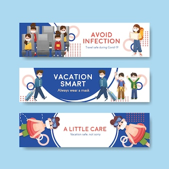 Banner template with covid-19 prevention concept design for new normal lifestyle.