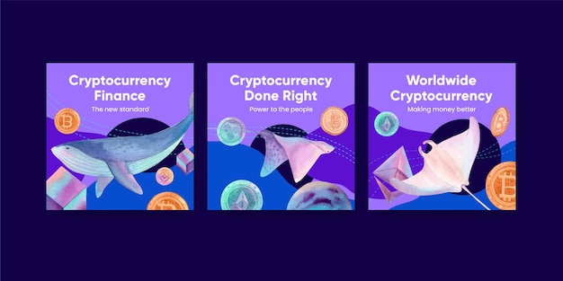 Banner template with crypto currency in watercolor style