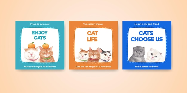 Banner template with cute cat in watercolor style