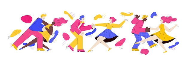 Banner template with dancing couples trendy cartoon illustration