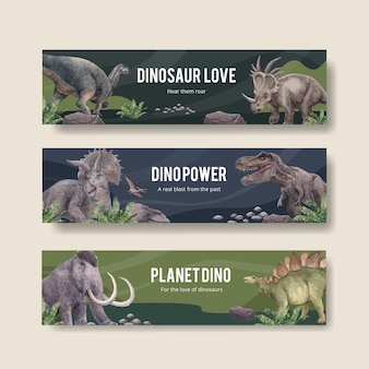 Шаблон баннера с концепцией динозавра, акварель в стиле