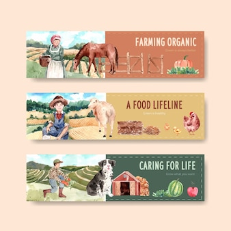 Banner template with farm organic concept design   watercolor    illustration.