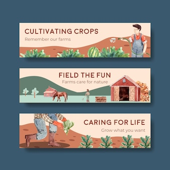 Шаблон баннера с иллюстрацией акварели дизайна концепции фермы органической.