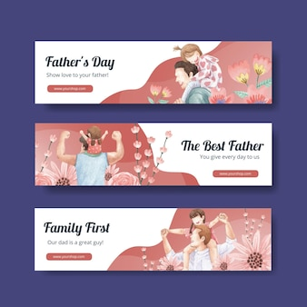 Banner template with father's day concept,watercolor style