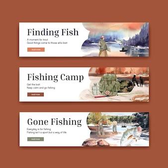 Шаблон баннера с концепцией рыболовного лагеря, акварель в стиле