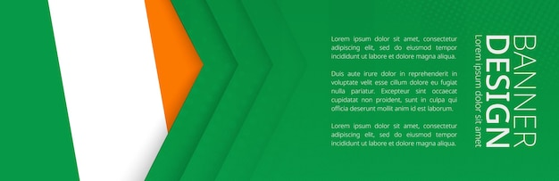 Banner template with flag of ireland for advertising travel, business and other. horizontal web banner design.