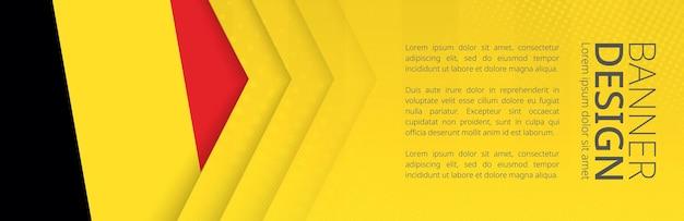 여행, 비즈니스 및 기타 광고를 위한 벨기에 국기가 있는 배너 템플릿. 수평 웹 배너 디자인입니다.
