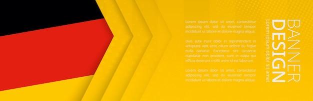 여행, 비즈니스 및 기타 광고를 위한 독일 국기가 있는 배너 템플릿. 수평 웹 배너 디자인입니다.
