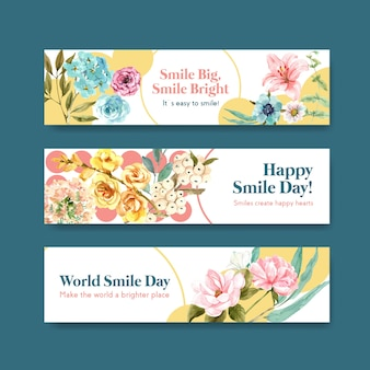 Banner template with flowers bouquet design for world smile day concept to advertise and marketing watercolor vector illustraion.