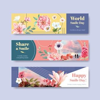 Modello della bandiera con il disegno del mazzo dei fiori per il concetto di giornata mondiale del sorriso per pubblicizzare e commercializzare l'illustrazione di vettore dell'acquerello.