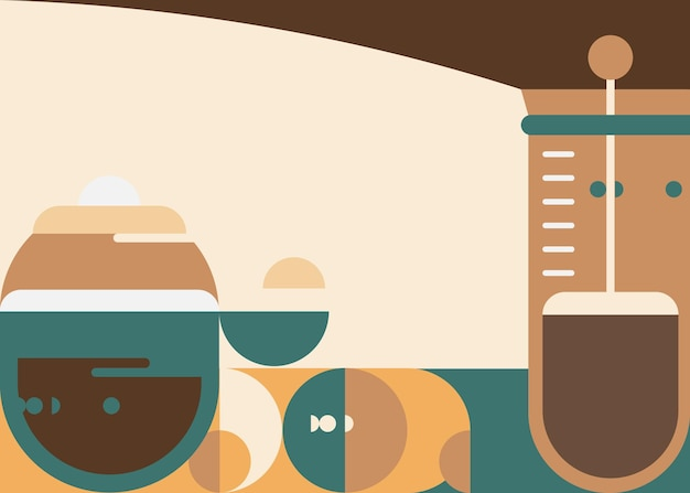 Banner template with french press. breakfast concept art.
