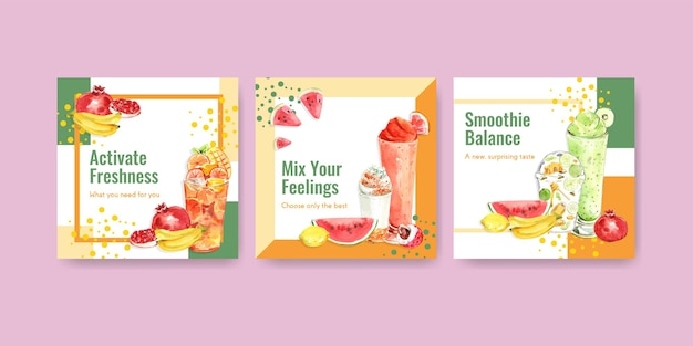 Banner template with fruits smoothies