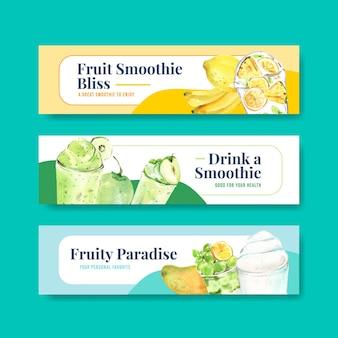 Modello di banner con frullati di frutta