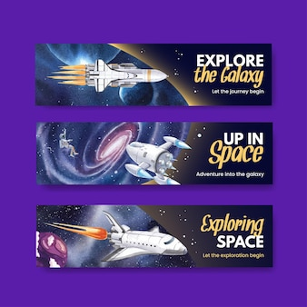 Banner template with galaxy concept design watercolor illustration