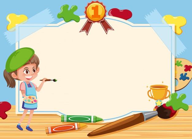 ボード上の絵を描く少女とバナーのテンプレート