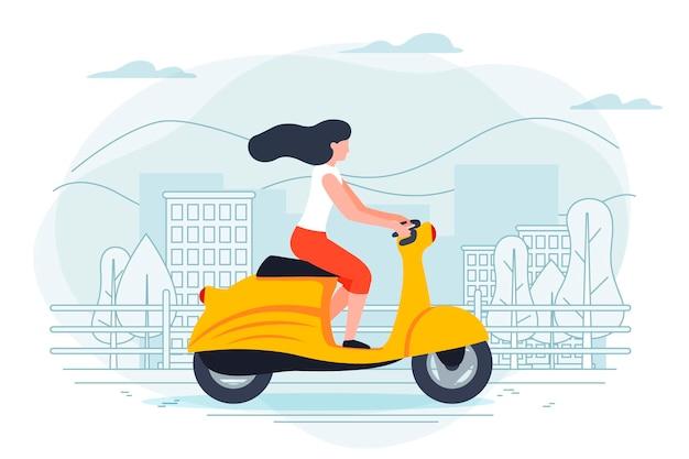 バイクの女の子とバナーテンプレート。青い背景の街、木々や丘。
