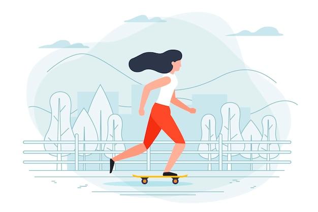 スケートの女の子とバナーテンプレート