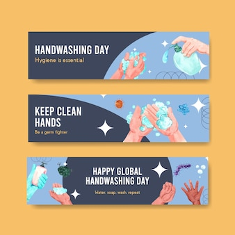 Banner template with global handwashing day concept design for advertise and marketing watercolor