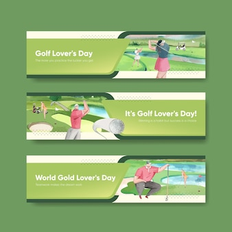 Banner template with golf lover in watercolor style