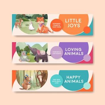 Шаблон баннера с акварельной иллюстрацией концепции счастливых животных