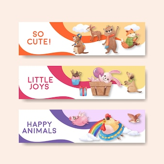 Banner template with happy animals concept  watercolor illustration
