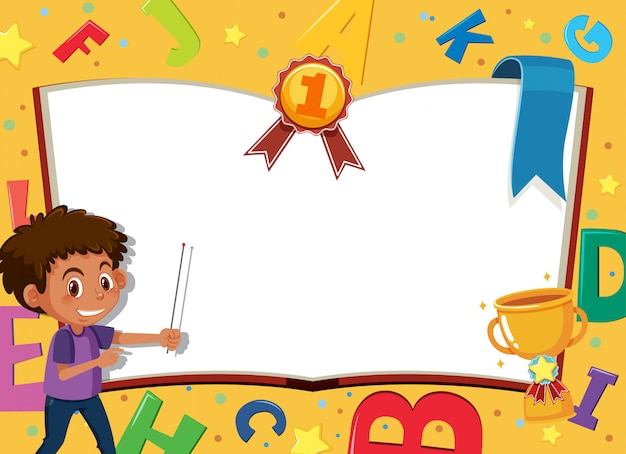 Banner template with happy boy and alphabet design