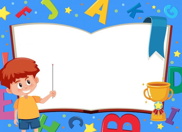 Banner template with happy boy and english alphabet