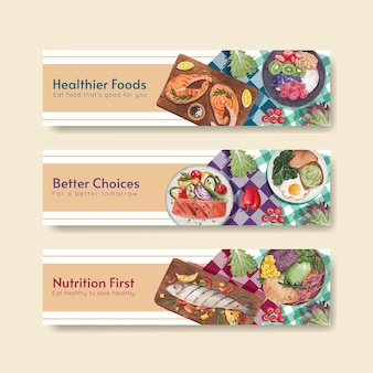 Banner template with healthy food concept,watercolor style