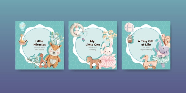 Banner template with hello baby concept