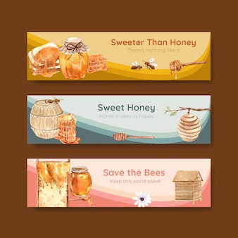Banner template with honey for advertise watercolor