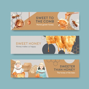 Banner template with honey concept design for advertise watercolor vector illustration