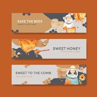 水彩ベクトルイラストを宣伝するための蜂蜜のコンセプトデザインのバナーテンプレート