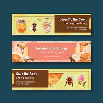 광고 수채화에 대 한 꿀 배너 서식 파일