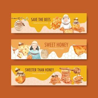 水彩を宣伝するための蜂蜜とバナーテンプレート