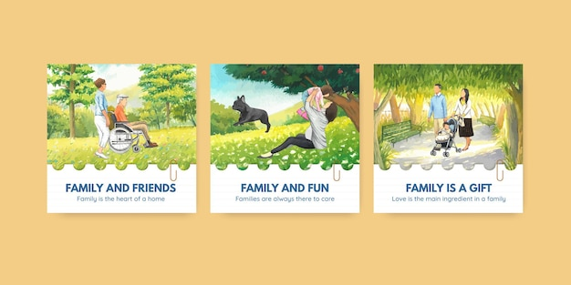 Banner template with international day of families concept design watercolor illustration