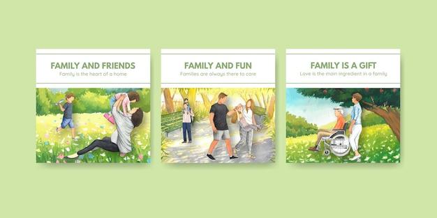국제 가족의 날 개념 디자인 수채화 일러스트와 함께 배너 서식 파일