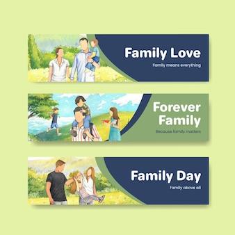 국제 가족의 날 컨셉 디자인 수채화와 배너 서식 파일